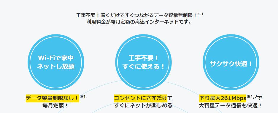 ソフトバンクエアーの公式サイトの記述